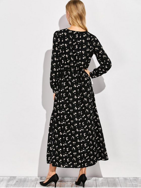 Scoop Neck Tiny Flower Maxi Shirt Dress - BLACK L Mobile