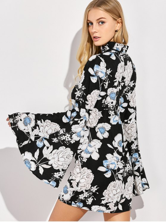 Floral Print Bell Sleeves Dress - BLACK XL Mobile