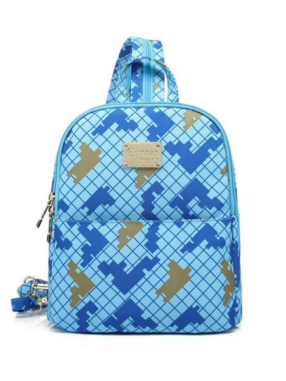 Argyle Pattern Zippers Colour Block Backpack - AZURE  Mobile