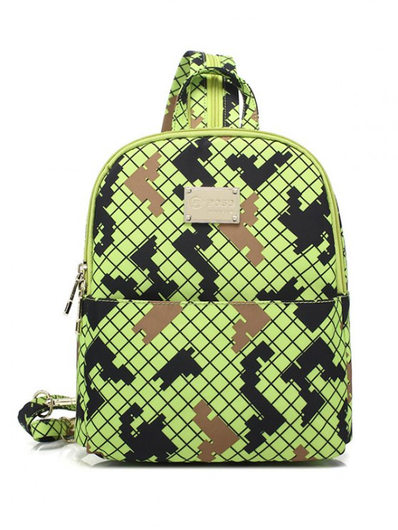 Argyle Pattern Zippers Colour Block Backpack - FLUORESCENT YELLOW  Mobile