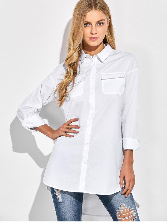 Oversized Boyfriend Shirt With Pocket - WHITE L Mobile