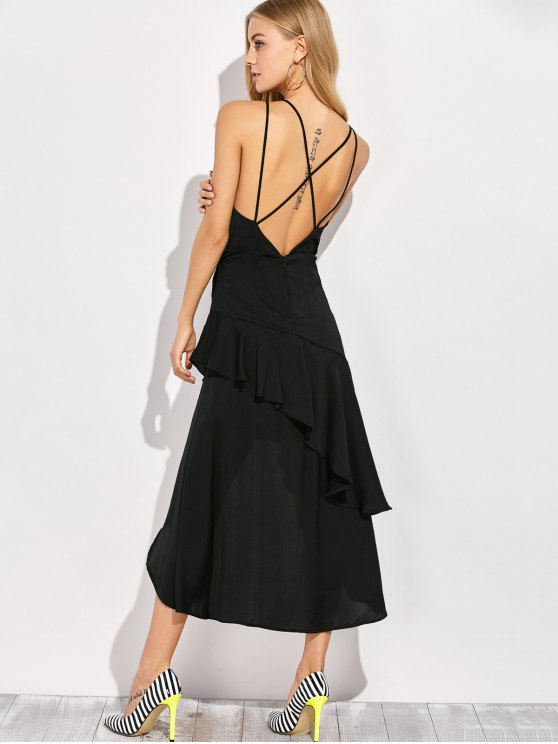 Thin Strap Asymmetric Ruffled Cocktail Dress - BLACK XL Mobile
