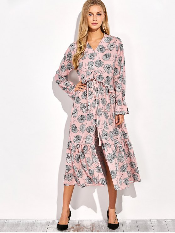 Long Sleeve Printed Maxi Slit Dress - COLORMIX M Mobile