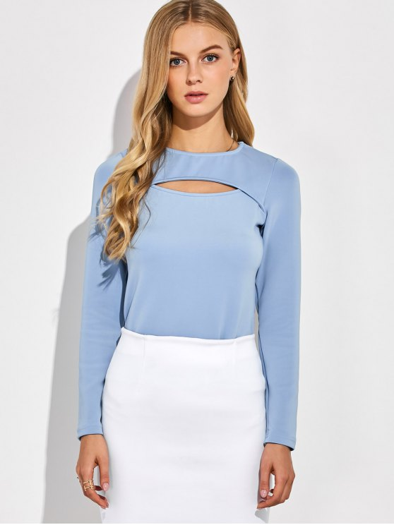 Long Sleeves Cutout Tee - BLUE GRAY M Mobile