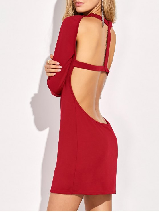 Long Sleeve Backless Bodycon Dress - RED S Mobile