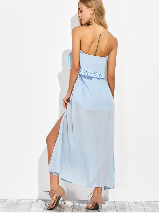 Layered Bandeau Maxi Dress - LIGHT BLUE XL Mobile