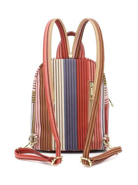 Striped Metal Zippers Backpack - LIGHT BROWN  Mobile