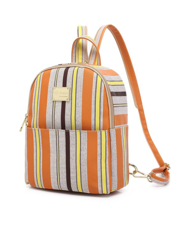 Striped Metal Zippers Backpack - LIGHT GRAY  Mobile