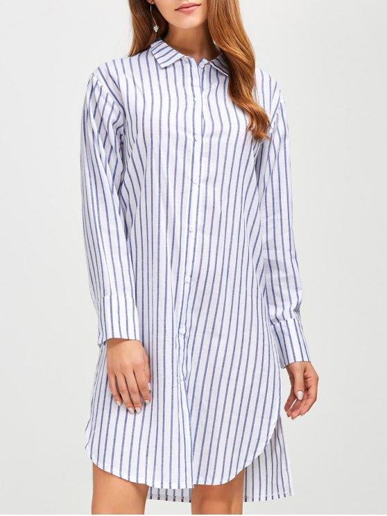 Slit Loose Striped Shirt - BLUE S Mobile