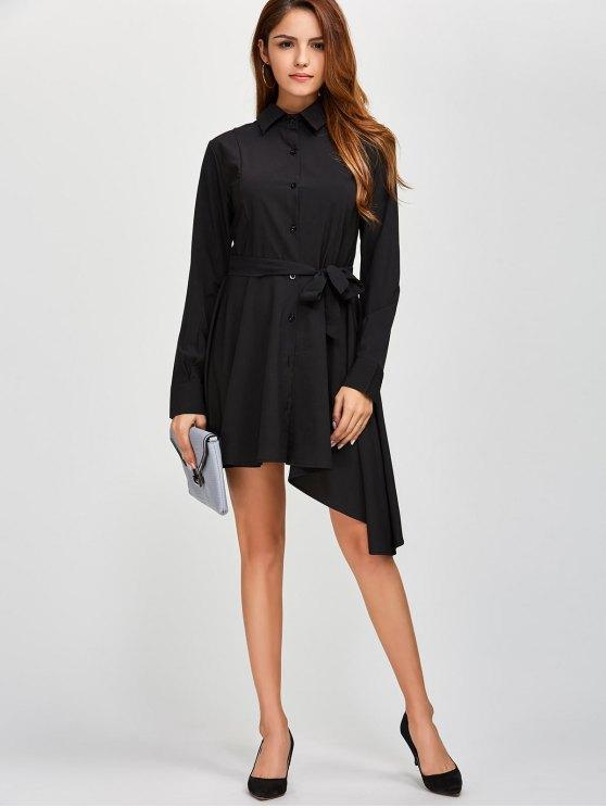 Asymmetric Long Sleeve Button Up Shirt Dress - BLACK L Mobile