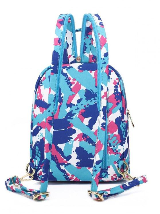 Printed Zippers Nylon Backpack - AZURE  Mobile