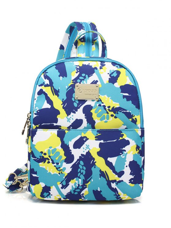 Printed Zippers Nylon Backpack - BLUE GREEN  Mobile