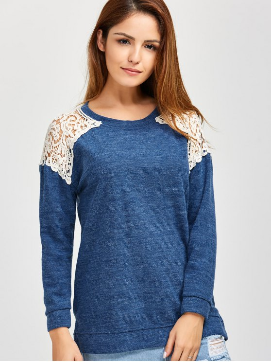 Lace Spliced Slit Sweater - BLUE M Mobile