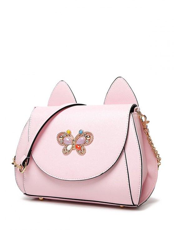 Cat Ear Rhinestone Butterfly Crossbody Bag - PINK  Mobile