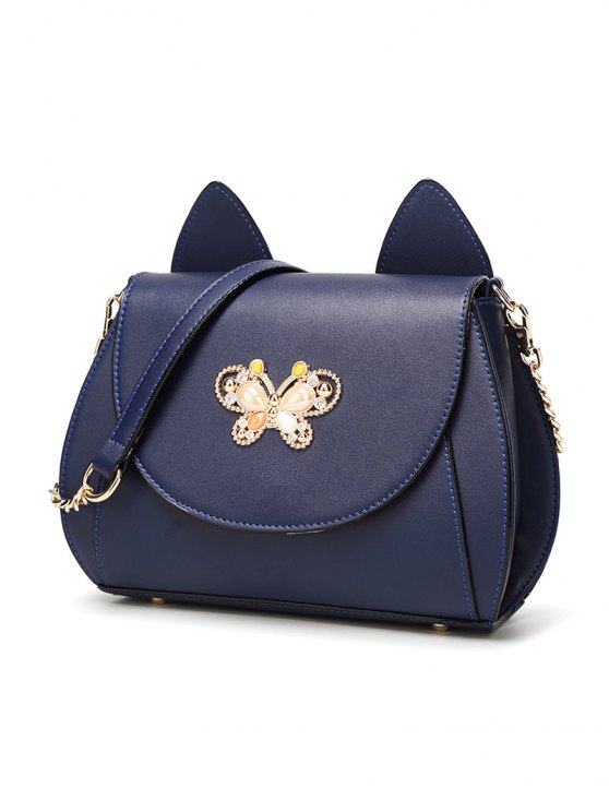 Cat Ear Rhinestone Butterfly Crossbody Bag - DEEP BLUE  Mobile
