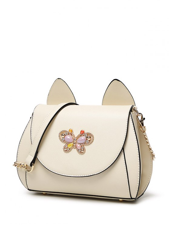 Cat Ear Rhinestone Butterfly Crossbody Bag - OFF-WHITE  Mobile