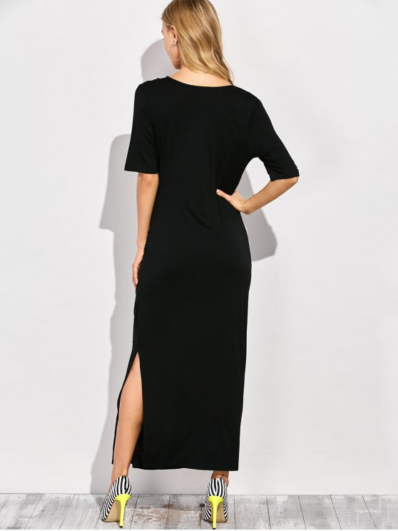 Ruched Side Slit Maxi Dress - BLACK XL Mobile