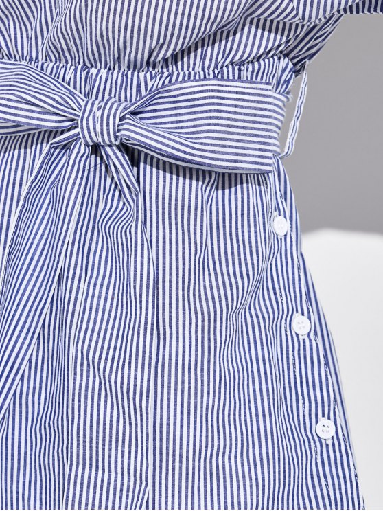 Striped Casual One-Shoulder Blouse - BLUE 2XL Mobile