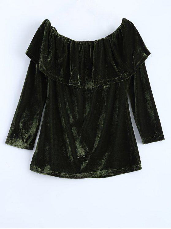 Velvet Off Shoulder Ruffles T-Shirt - GREEN XL Mobile