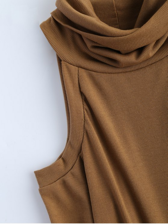 Cold Shoulder Turtle Neck Knitwear - KHAKI L Mobile