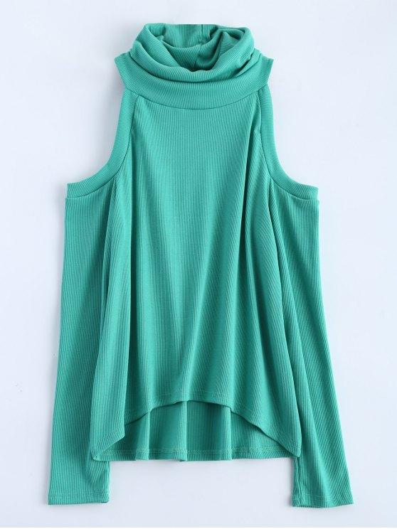 Cold Shoulder Turtle Neck Knitwear - GREEN M Mobile