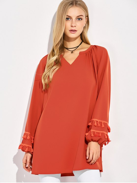 V Neck Tassel Blouse - RED M Mobile