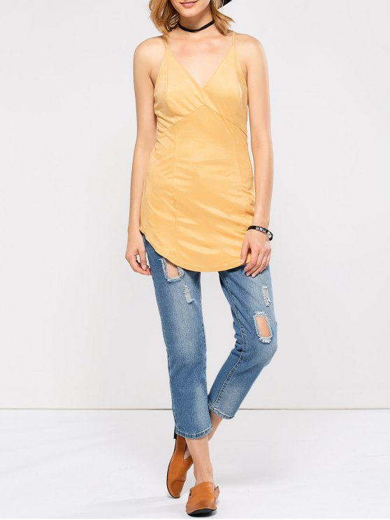 Suede Criss Back Slip Top - YELLOW L Mobile