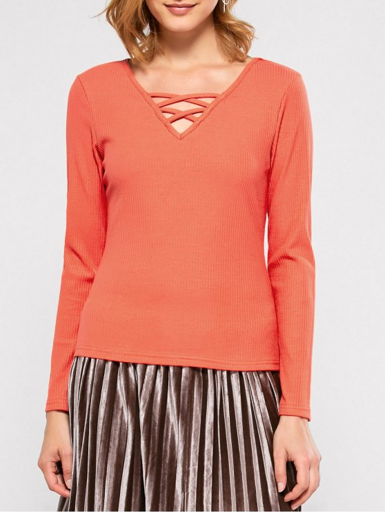 Ribbed Long Sleeve Lace Up Tee - JACINTH XL Mobile