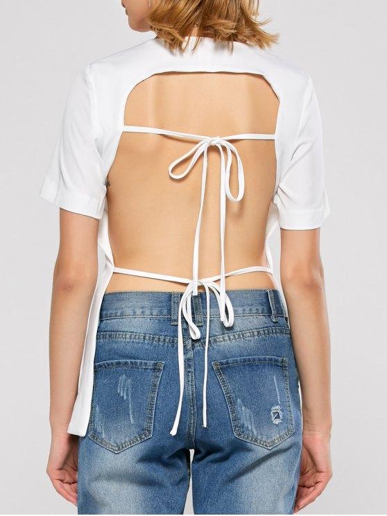 Short Sleeve Open Back Tee - WHITE L Mobile