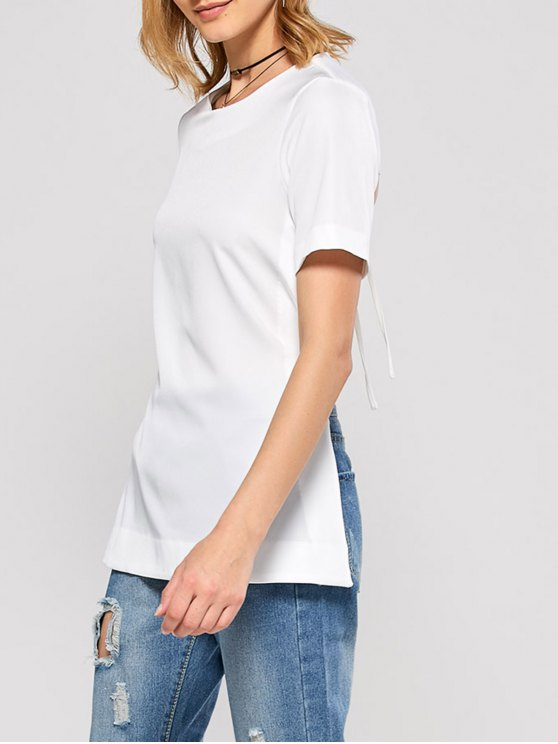 Short Sleeve Open Back Tee - WHITE L Mobile