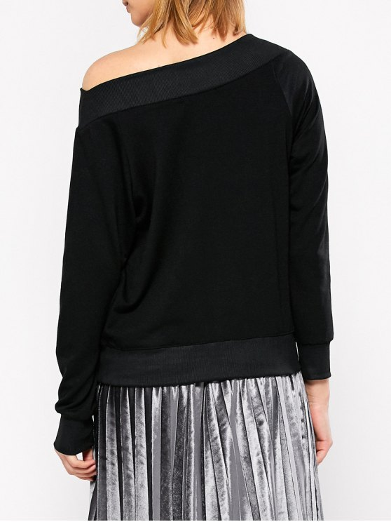 Casual One-Shoulder Sweatshirt - BLACK L Mobile