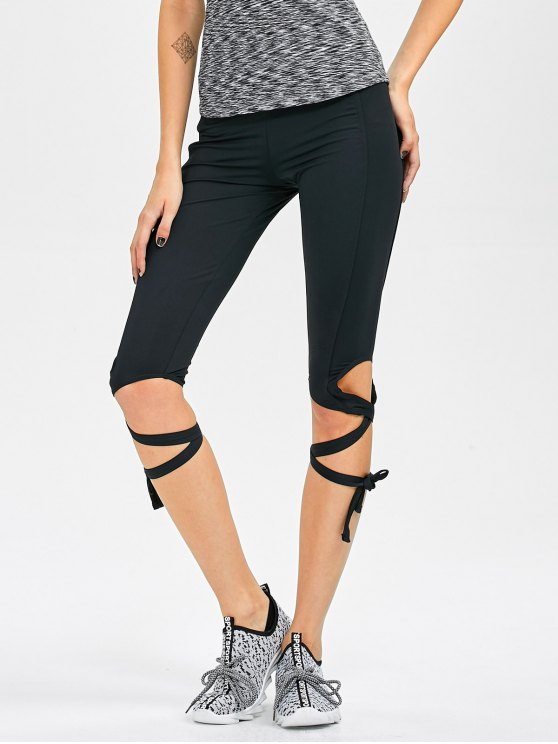 Recortable Leggings Yoga vendaje recortadas - Negro S