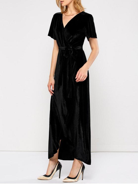 Velvet Wrap Asymmetric Short Sleeve Maxi Dress - BLACK L Mobile