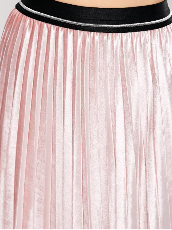 Accordion Pleat Velvet Skirt - PINK ONE SIZE Mobile
