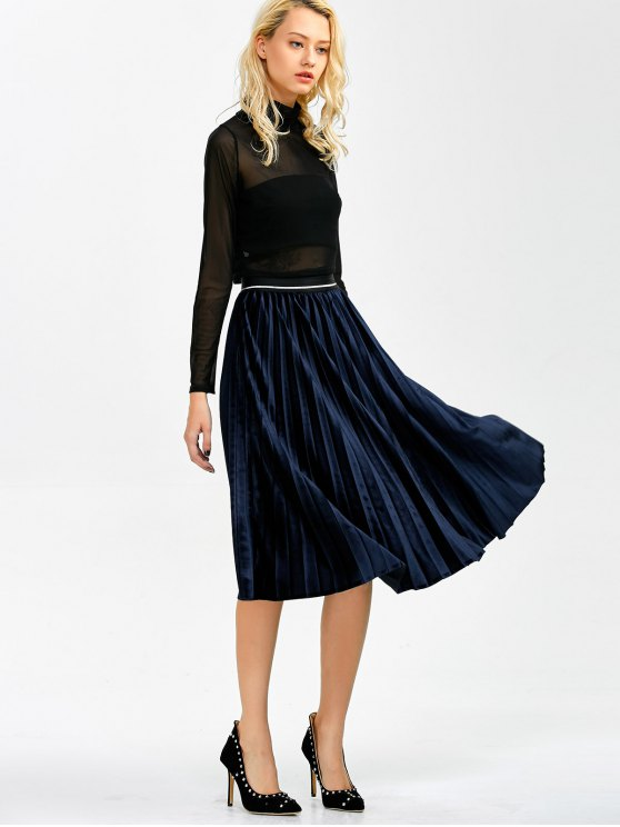 Accordion Pleat Velvet Skirt - CADETBLUE ONE SIZE Mobile