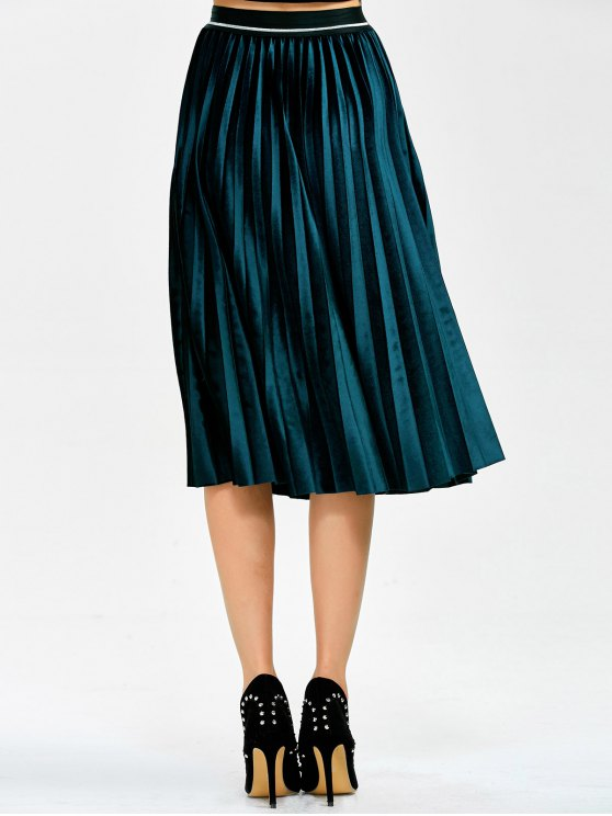 Accordion Pleat Velvet Skirt - LAKE BLUE ONE SIZE Mobile