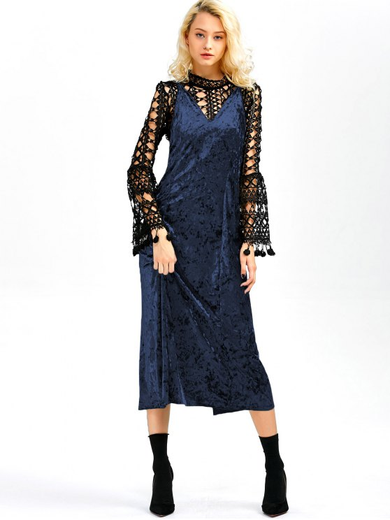 Velvet Slit Midi Dress - SAPPHIRE BLUE L Mobile
