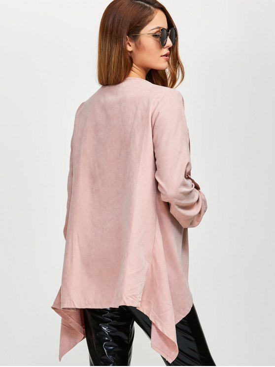 Drape Front Coat - PINK XL Mobile