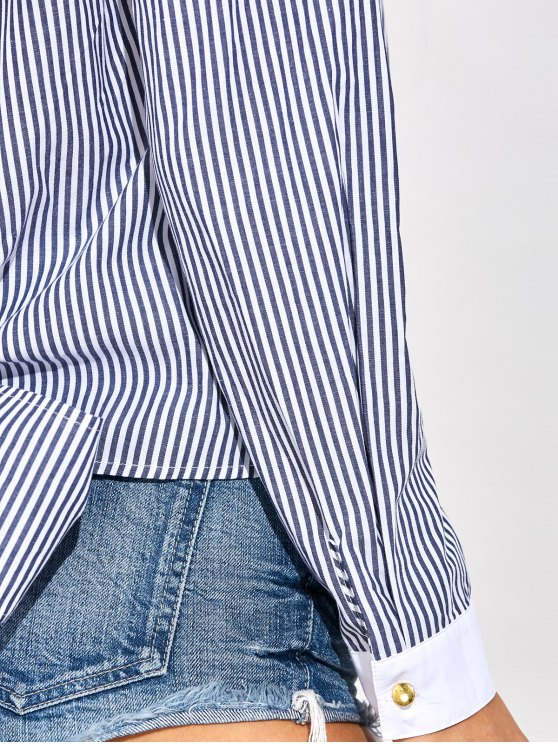 Backless Bowknot Striped Blouse - STRIPE M Mobile
