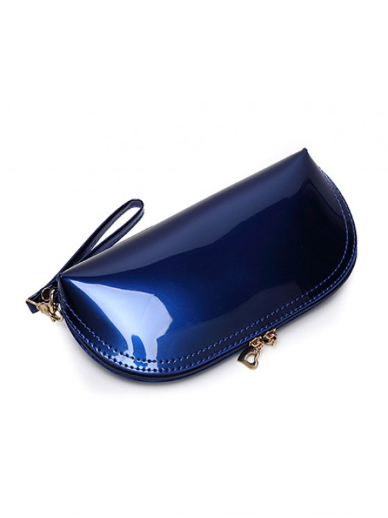 Zipper Around Patent Leather Wristlet - ROSE RED  Mobile