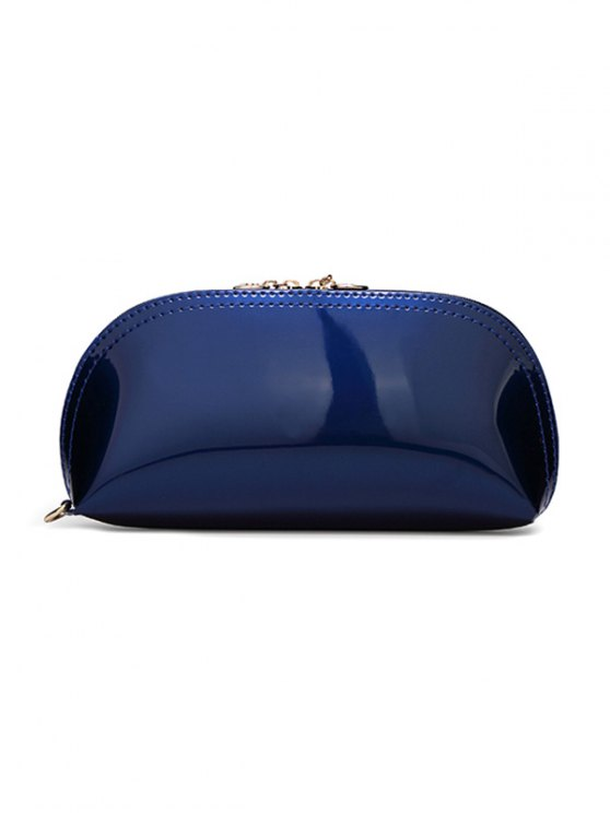 Zipper Around Patent Leather Wristlet - DEEP BLUE  Mobile