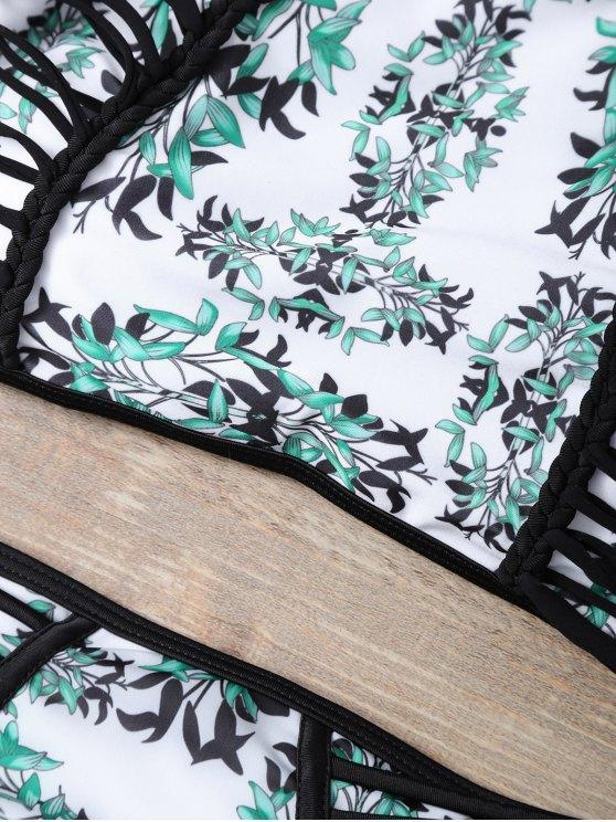 Plant Print Halter Strappy Bikini Set - MULTICOLOR M Mobile