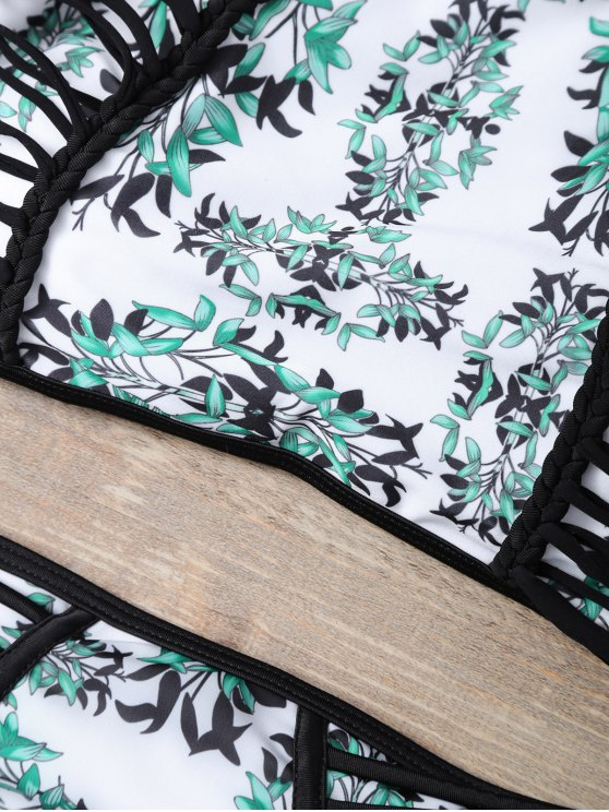 Plant Print Halter Strappy Bikini Set - MULTICOLOR S Mobile