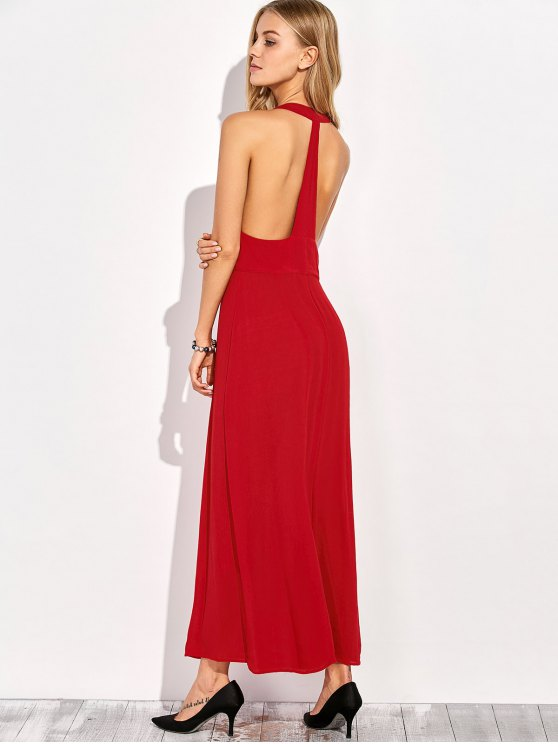Racerback Plunging Neck Front Slit Maxi Dress - RED L Mobile