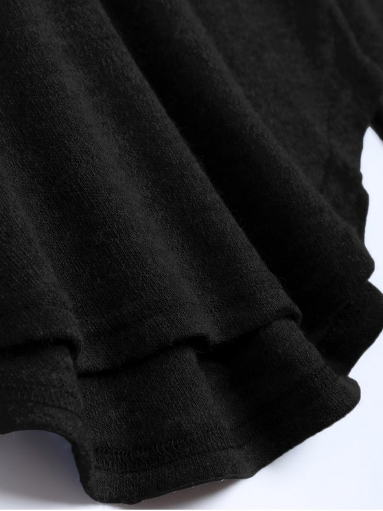 Cut Out Pullover Sweater - BLACK L Mobile