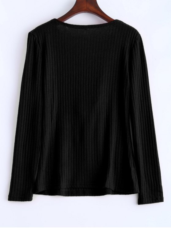 Ribbed Knit Lace Up Jumper - BLACK S Mobile
