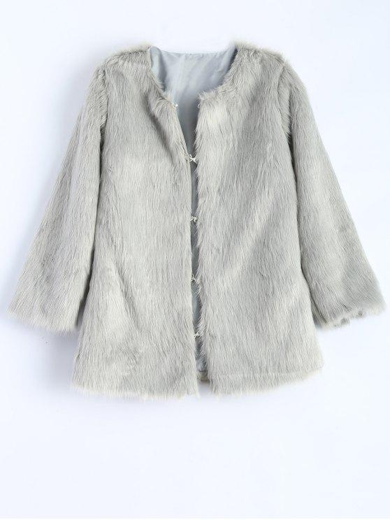 Round Neck Faux Fur Coat - GRAY M Mobile