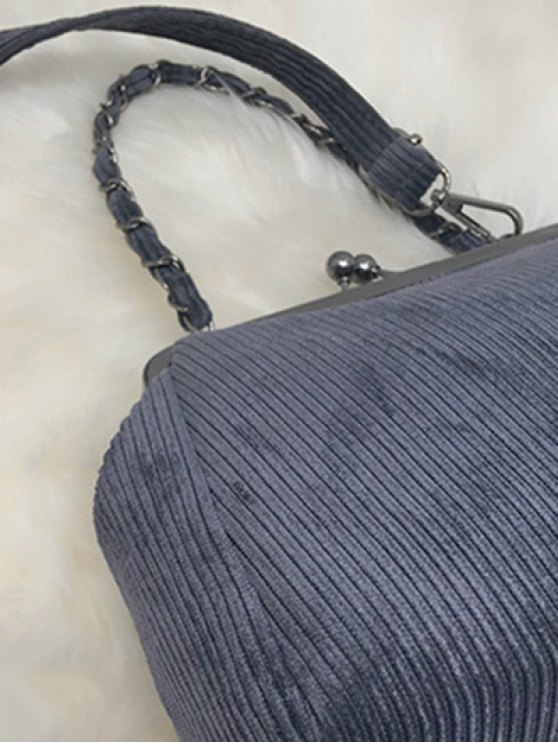 Ribbed Chain Kiss-Lock Closure Tote Bag - DEEP GRAY  Mobile