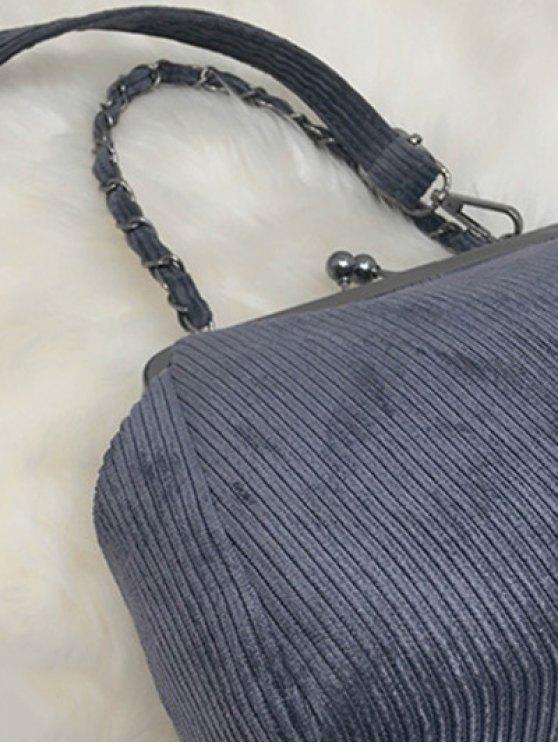 Ribbed Chain Kiss-Lock Closure Tote Bag - DEEP GRAY  Mobile