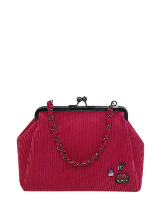 Ribbed Chain Kiss-Lock Closure Tote Bag - RED  Mobile